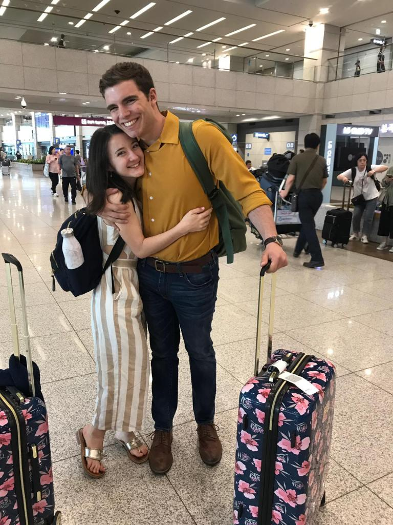 Long distance reunion in Incheon Airport, South Korea.